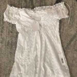White off the shoulder lace up dress